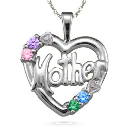 """Mother"" Cut-Out with 2-6 Stones Heart Pendant"