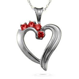 Elegant 2-6 Stones Heart Pendant