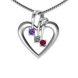 Triple Stone Heart Pendant