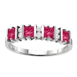 """Echo"" 2-6 Princess Cut Stones Ring With Accents"
