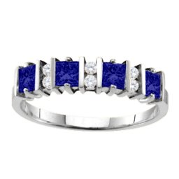 """""""Echo"""" 2-6 Princess Cut Stones Ring With Accents"""