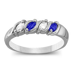 Wave Ring with 2-6 Marquise Cut Gemstones