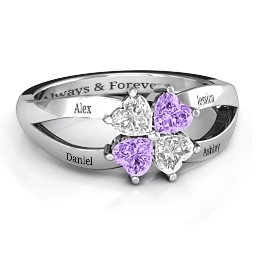 Engravable Clover Heart Cut Gemstone Ring with Split Shank