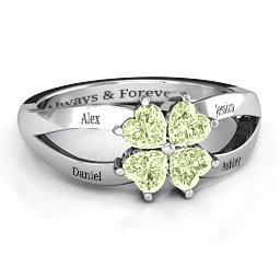Engravable Clover Heart Cut Gemstone Ring with Split Shank