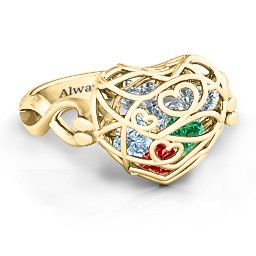 Caged Hearts Ring with 2-6 Stones