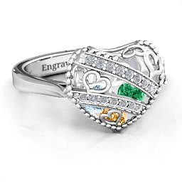 Swarovski Accents Caged Hearts Ring with Ski Tip Band