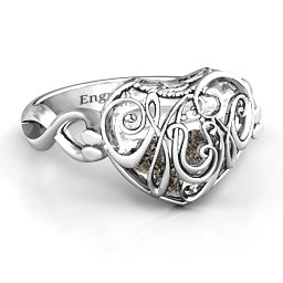 Mum heart Cage Ring with Infinity Band