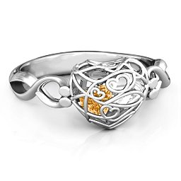 Encased in Love Petite Caged Hearts Ring with Infinity Band