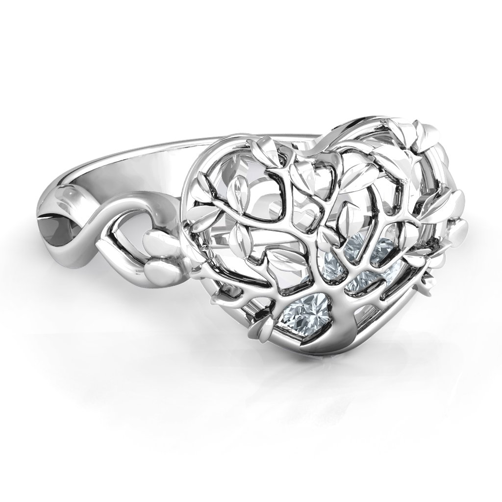 b0b50d715 Family Tree Caged Hearts Ring with Infinity Band
