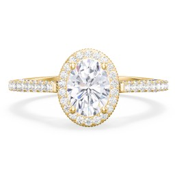 "Classic Solitaire Diamond Engagement Ring with Pave Accented Halo and Initial Setting - ""The Brigitte"""