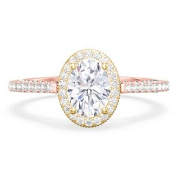 """Classic Solitaire Diamond Engagement Ring with Pave Accented Halo and Initial Setting - """"The Brigitte"""""""