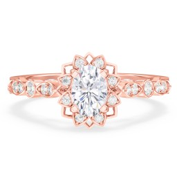 """Vintage Solitaire Diamond Engagement Ring with Accents and Floral Setting - """"The Audrey"""""""
