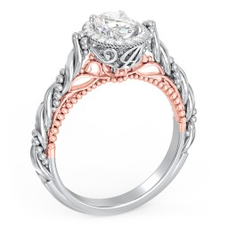 "Vintage Solitaire Diamond Engagement Ring with Accents and Floral Setting - ""The Rita"""