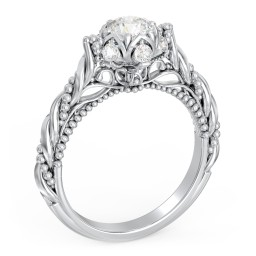 """Vintage Solitaire Diamond Engagement Ring with Accents and Floral Setting - """"The Rita"""""""