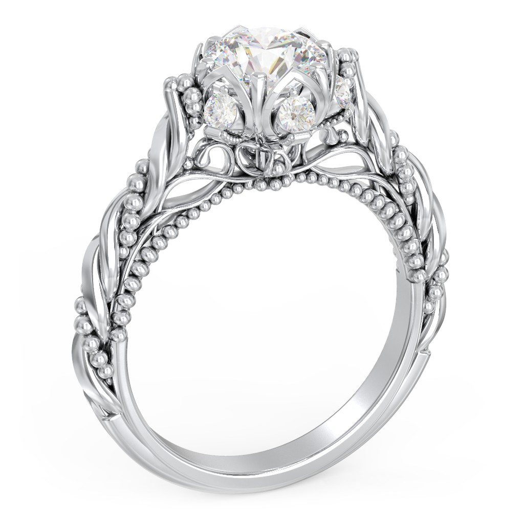 Vintage Solitaire Diamond Engagement Ring With Accents And Floral Setting The Rita Jewlr