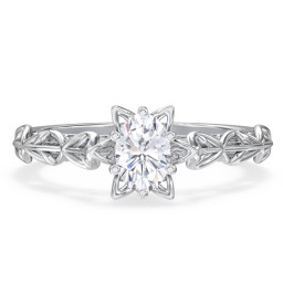 "Solitaire Diamond Engagement Ring with Leaf and Vine Details - ""The Ava"""