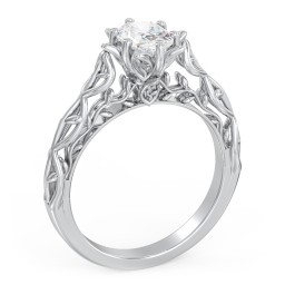"""Solitaire Diamond Engagement Ring with Leaf and Vine Details - """"The Ava"""""""