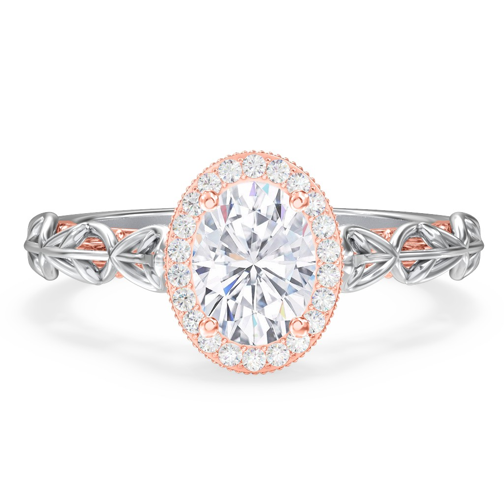 ... Solitaire Diamond Engagement Ring with Leaf and Vine Details -