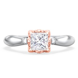 "Classic Solitaire Diamond Engagement Ring with Butterfly and Scroll Details - ""The Sophia"""