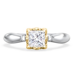 """Classic Solitaire Diamond Engagement Ring with Butterfly and Scroll Details - """"The Sophia"""""""
