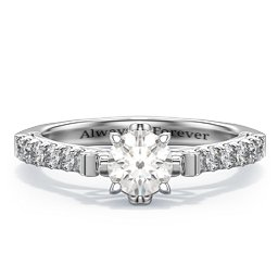 """Solitaire Diamond Engagement Ring with Accents and Bow Detail - """"The Grace"""""""