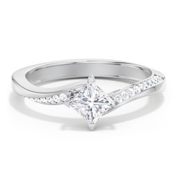 Solitaire Engagement Ring with Twisted Shoulder Accents