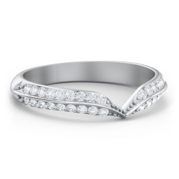 V-Shape Double Row Accented Band Ring