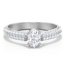 Diamond Solitaire Engagement Ring with Double Row Accents