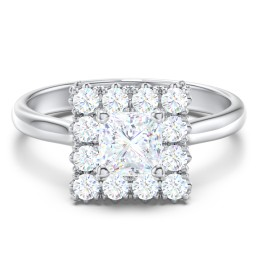 Classic Diamond Solitaire Engagement Ring with Halo Accents