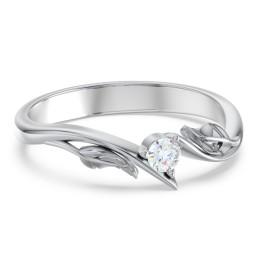Diamond Leaf Band Ring