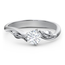 Diamond Solitaire Leaf Engagement Ring