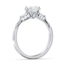 Vintage Diamond Solitaire Ring with Side Accent Stones