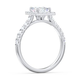 Diamond Halo Engagement Ring Micro-Pavé Accents