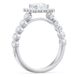 Vintage Diamond Halo Engagement Ring with Accents