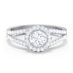 Diamond Halo Engagement Ring with Split Shank and Accents