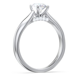 Solitaire Diamond Engagement Ring with Accented Bridge