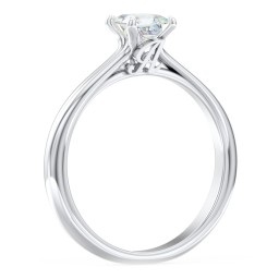 Solitaire Diamond Engagement Ring with Personalized Initials