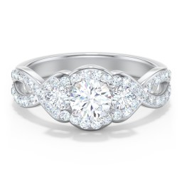 Halo 3-Stone Diamond Engagement Ring with Accented Twisted Band