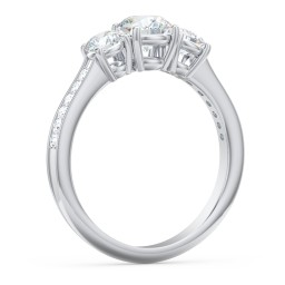 Classic 3-Stone Diamond Engagement Ring with Accents