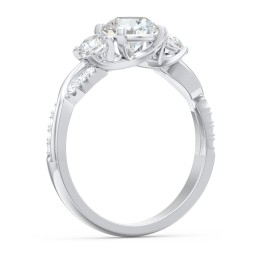 3-Stone Diamond Engagement Ring with Twisted Band and Accents