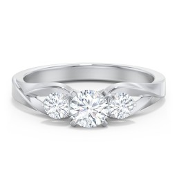 3-Stone Diamond Engagement Ring with Twisted Split Shank