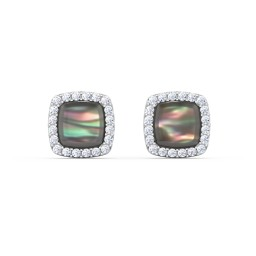 Sterling Silver Black Mother of Pearl Studs with Cubic Zirconia Halo