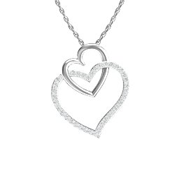 Double Heart Pendant with Diamond Accents