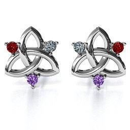 Triple Stone Celtic Knot Earrings