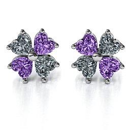 Multi Stone Four Heart Clover Earrings