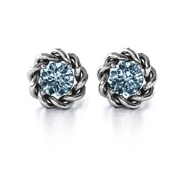 Twisted Stud Solitaire Earrings