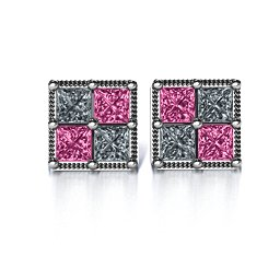 Vintage Princess Cut Stud Earrings