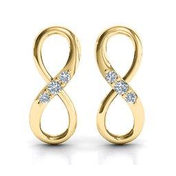 Three Stone Infinity Earrings