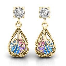 Elegant Drop Caged Earrings