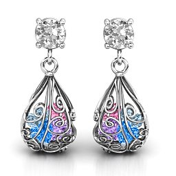 Elegant Drop Caged Earrings